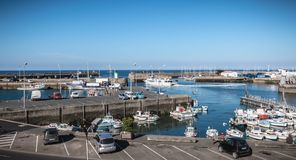 View of the small port where maneuver fishing boats in Port Joinville stock photography