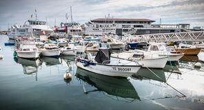 View of the small port where maneuver fishing boats in Port Joinville stock image