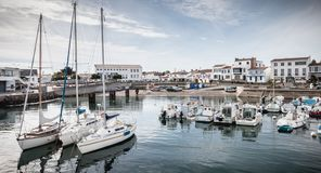 View of the small port where maneuver fishing boats in Port Joinville royalty free stock photo