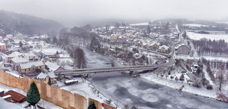 View on a small snow-covered  town Stock Images