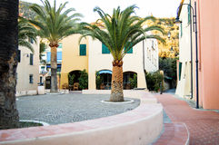 View of small square in the centre of varigotti italy Royalty Free Stock Image