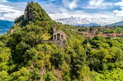 View of Small Stone Church of Saint Veronica on Rocca of Caldè, Castelveccana in the province of Varese, Italy. View of Small Stone Church of Saint Veronica royalty free stock photo