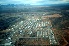 A View of a Small Town from the Air Stock Photography