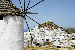 View of the small town of Chora in Ios island Stock Images