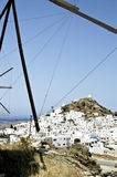 View of the small town of Chora in Ios island Stock Photography