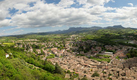 View of the small town of Crest in the Drome, France. A view of the small town of Crest in the Drome, France stock photo