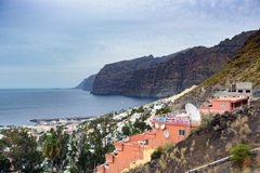 View on small town near Los Gigantes rocks on Tenerife Canary Islands Spain Stock Image