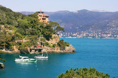 View on small town of Portofino, Italy. Stock Photos