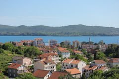 View of small town with red roofs in Montenegro stock images