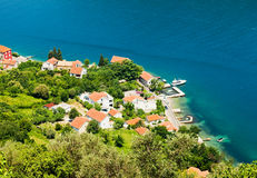 View of a small town by the sea Stock Photos