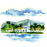 View of a small town by the sea. Watercolor painting Stock Images