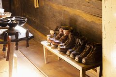 Traditional shoemaker workshop with handmade shoes Stock Image