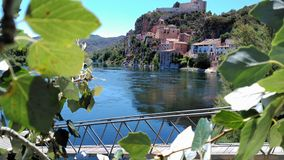 View of a small village in Spain. On a sunny summer day and the Ebro River in the mountains Stock Photography