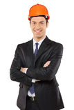 A view of a smiling foreman wearing helmet Royalty Free Stock Photo