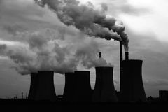 View of smoking coal power plant Royalty Free Stock Image