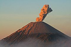 Semeru volcano. A view of the smoking semeru volcano at java island in indonesia Stock Photos