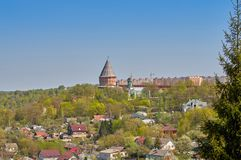 View of the Smolensk fortress, impregnable bastion, reliably defending the state borders. Smolensk fortress, impregnable bastion, reliably defending the state stock photography