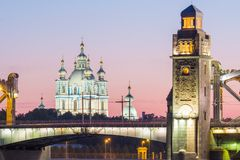 View of the Smolny Cathedral and the Bolsheokhtinsky bridge during the White Nights. St. Petersburg. Russia royalty free stock images