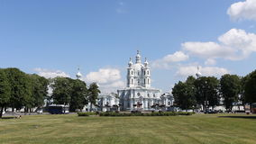 View of the Smolny Cathedral, St. Petersburg stock video footage