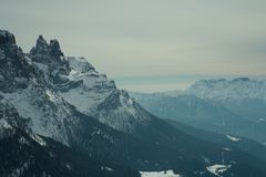 View of snow capped alpes, dolomites in Italy. Pale di San Martino stock photo