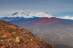 Mount Ostry Tolbachik, the highest point of volcanic complex on the Kamchatka, Russia. stock images