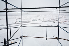 View of snow covered airdrome. From scaffold Stock Image