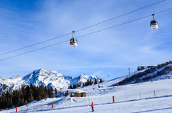 View of snow covered Courchevel slope in French Alps. Royalty Free Stock Photos