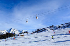 View of snow covered Courchevel slope in French Alps Royalty Free Stock Photography