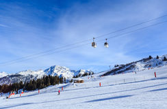 View of snow covered Courchevel slope in French Alps Stock Photography