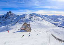 View of snow covered Courchevel slope in French Alps. Ski Resort Stock Photography
