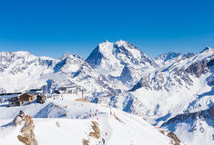View of snow covered Courchevel slope in French Alps. Ski Resort Royalty Free Stock Photo