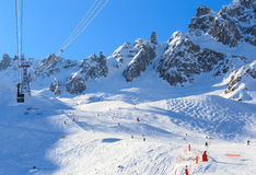 View of snow covered Courchevel slope in French Alps. Royalty Free Stock Image