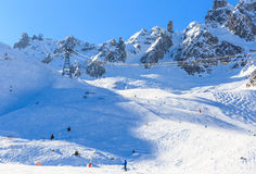 View of snow covered Courchevel slope in French Alps Royalty Free Stock Image