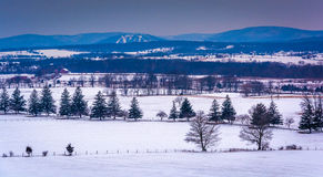 View of snow-covered farm fields and distant mountains from Long. Street Tower, in Gettysburg, Pennsylvania Royalty Free Stock Images