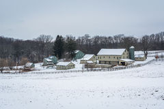 View of a snow covered farm near New Freedom, Pennsylvania. Stock Photography