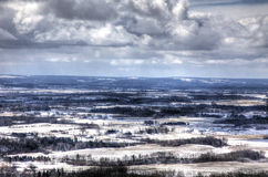 Snow Covered Farmland. A view of snow covered farmland in winter Stock Photo
