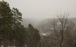 view of snow covered hills Stock Photos