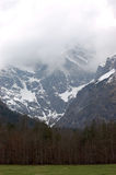 View of snow-covered mountains in clouds and the forest. Stock Image