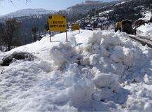 A view of snow covered Mughal Road Stock Image