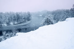 View of the snow-covered river Stock Photo