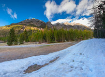 View of the snow cowered Alps peacs in the early spring Royalty Free Stock Photos