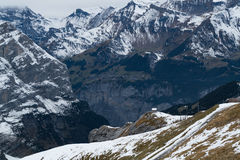 View of snow mountain and village at the Alps Stock Photo