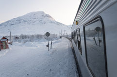 View of snow scenery from the train Stock Photos