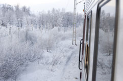 View of snow scenery from the train Royalty Free Stock Images