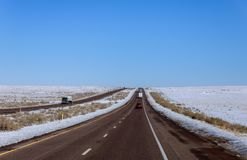 The view of snow whilst on the road to New Mexico royalty free stock images