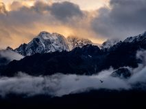 Snowcapped Peaks at Sunrise, Kenai Peninsula, Alaska royalty free stock photos