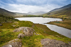 View of Snowdon from Llyn Mymbyr. View along Llyyn Mymbyr in Snowdonia National Park toowards cloud coovered Mount Snowdon Royalty Free Stock Photography