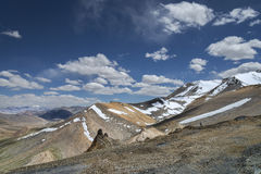 View of snowed mountains from Tanglang La pass Stock Photos