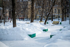 Snowed Square in Moscow Royalty Free Stock Photos