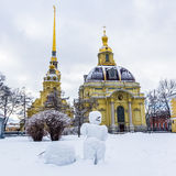 View on snowman in Peter and Paul Fortress in Saint-Petersburg Royalty Free Stock Photo